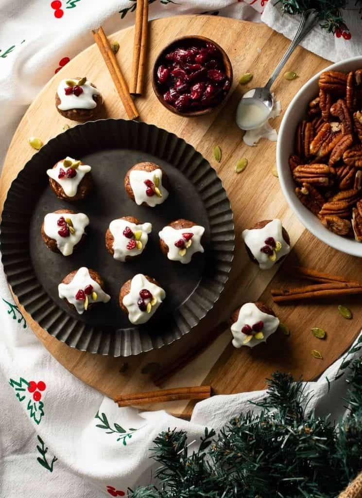Christmas pudding protein balls on plate