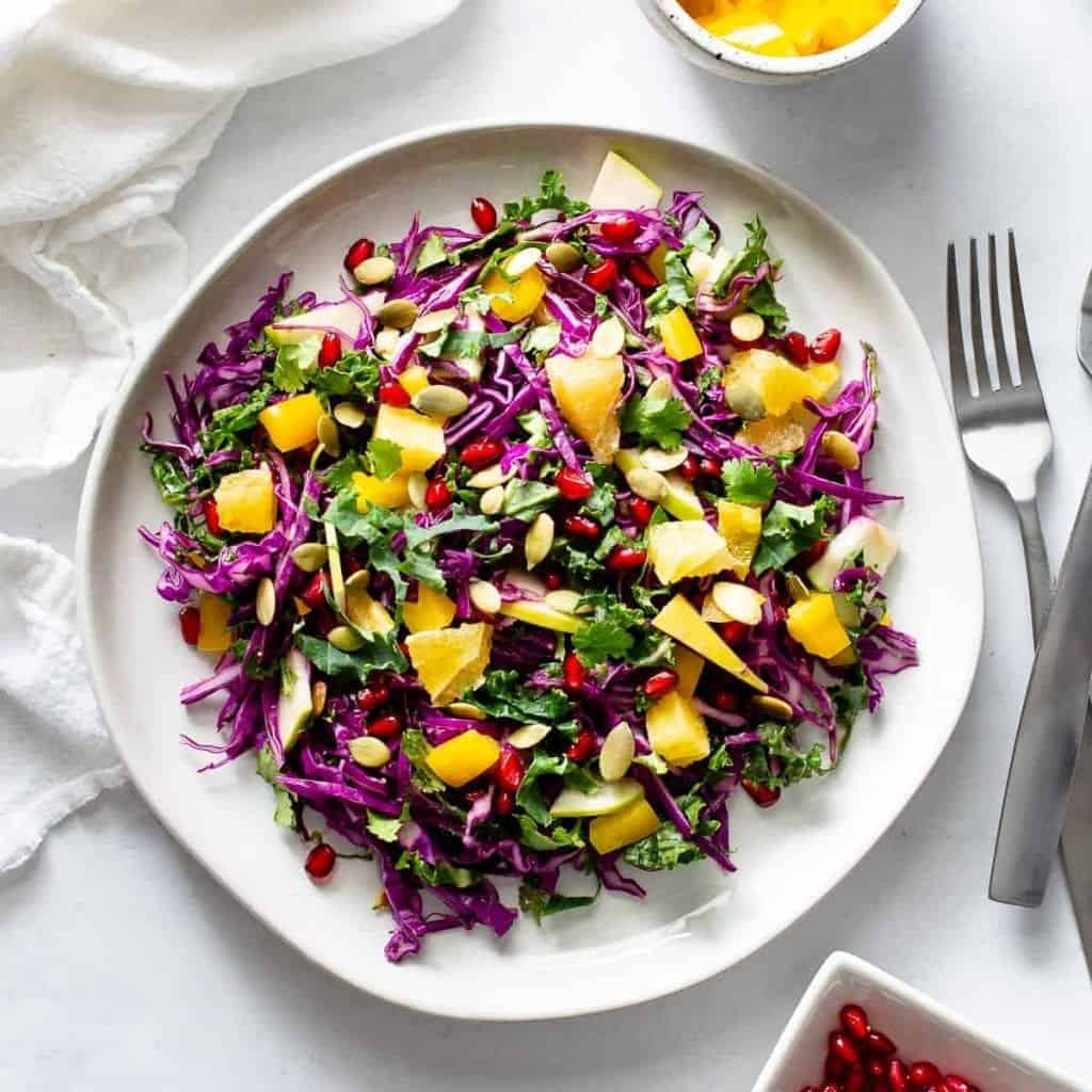 rainbow detox salad on a plate