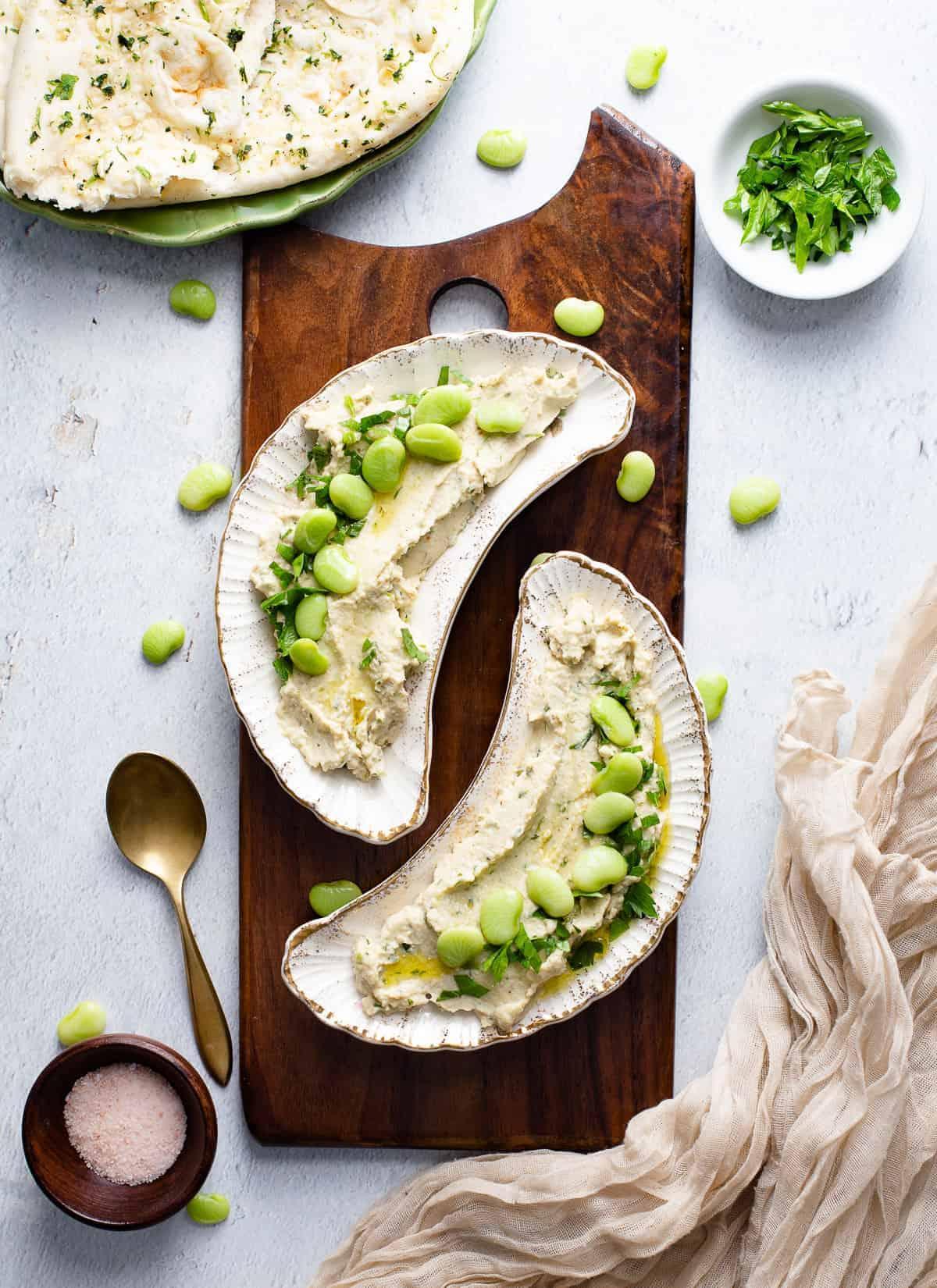 lima bean hummus in bowls