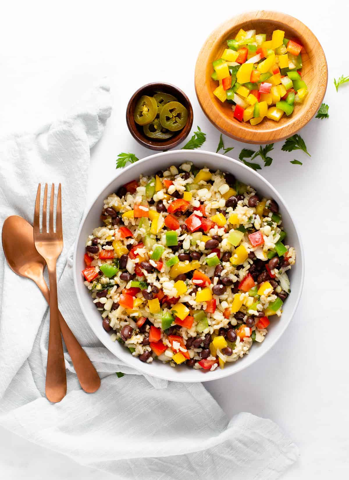 mexican rice salad in a bowl