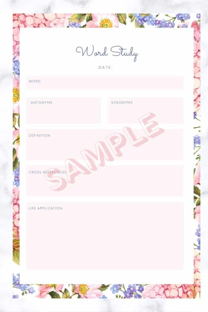 bible study planner page for word study