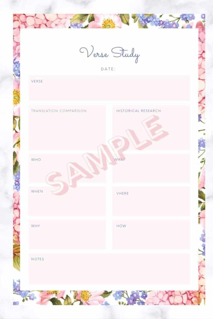 bible study planner page for verse study
