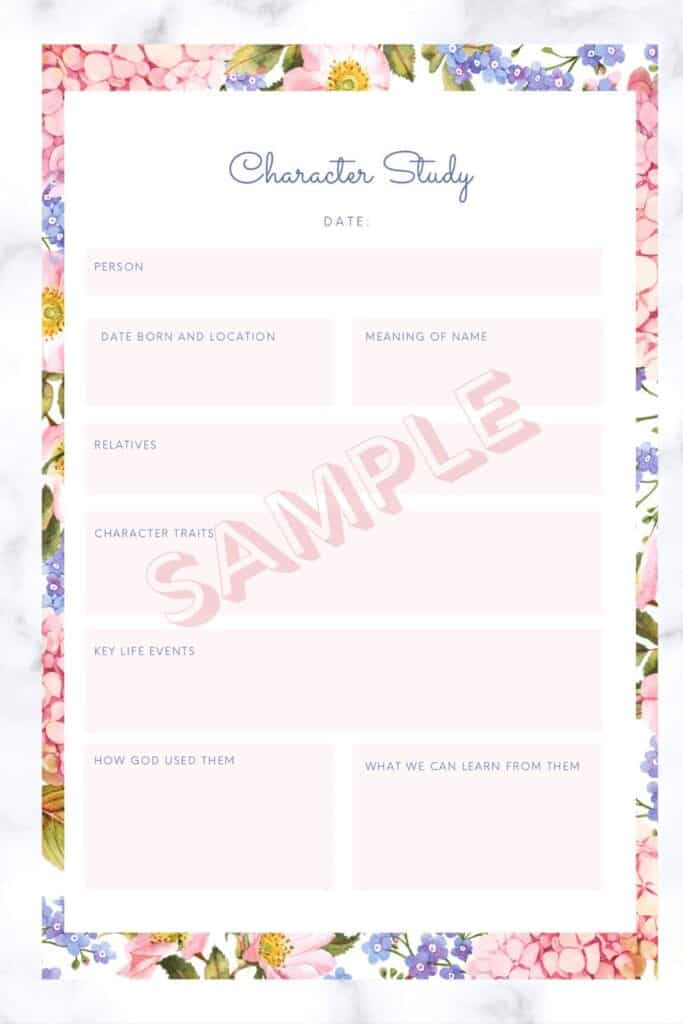 bible study planner page character study
