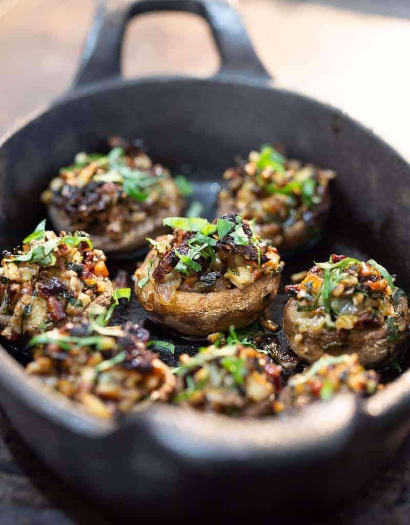 vegan stuffed mushrooms in pan