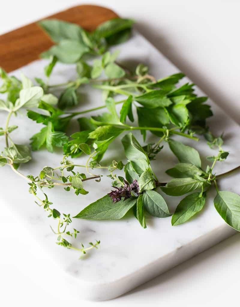 Fresh herbs on a board
