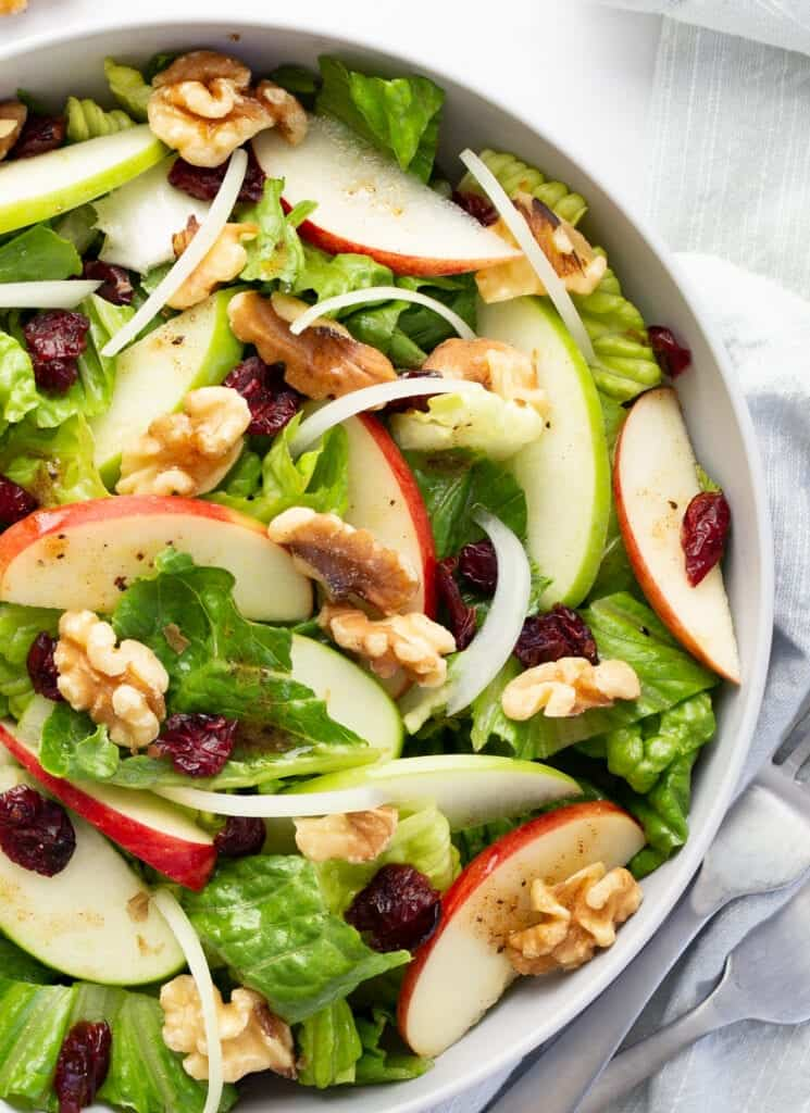 apple cranberry salad in a bowl