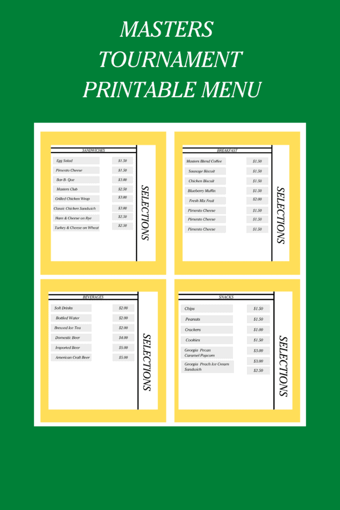 masters party ideas menu