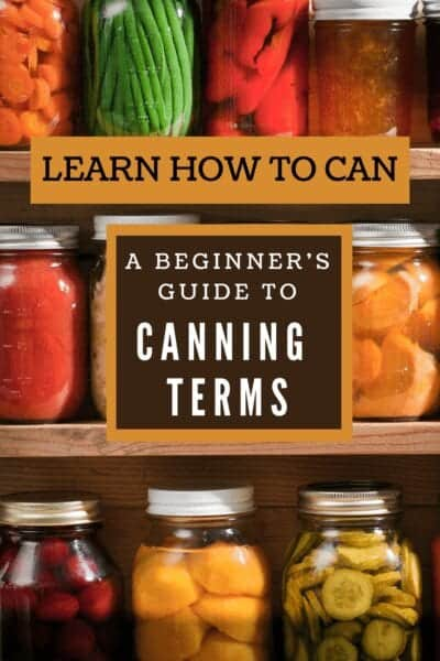 canning terms with canned food in background