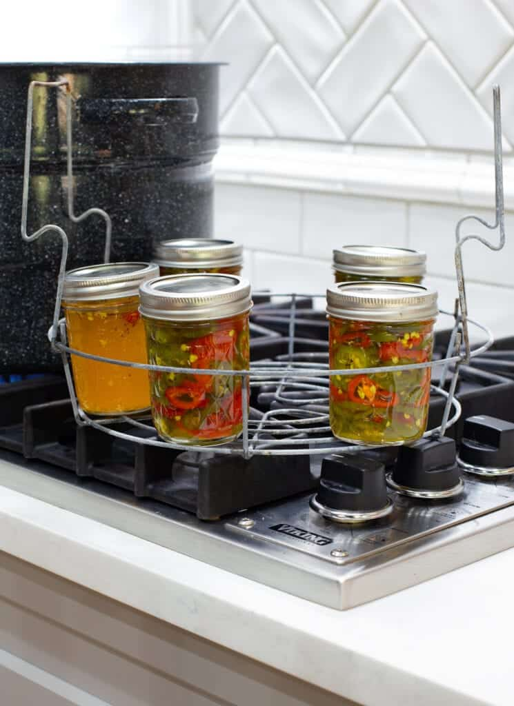 canned cowboy candy JALAPENOS IN A WATER BATH CANNER