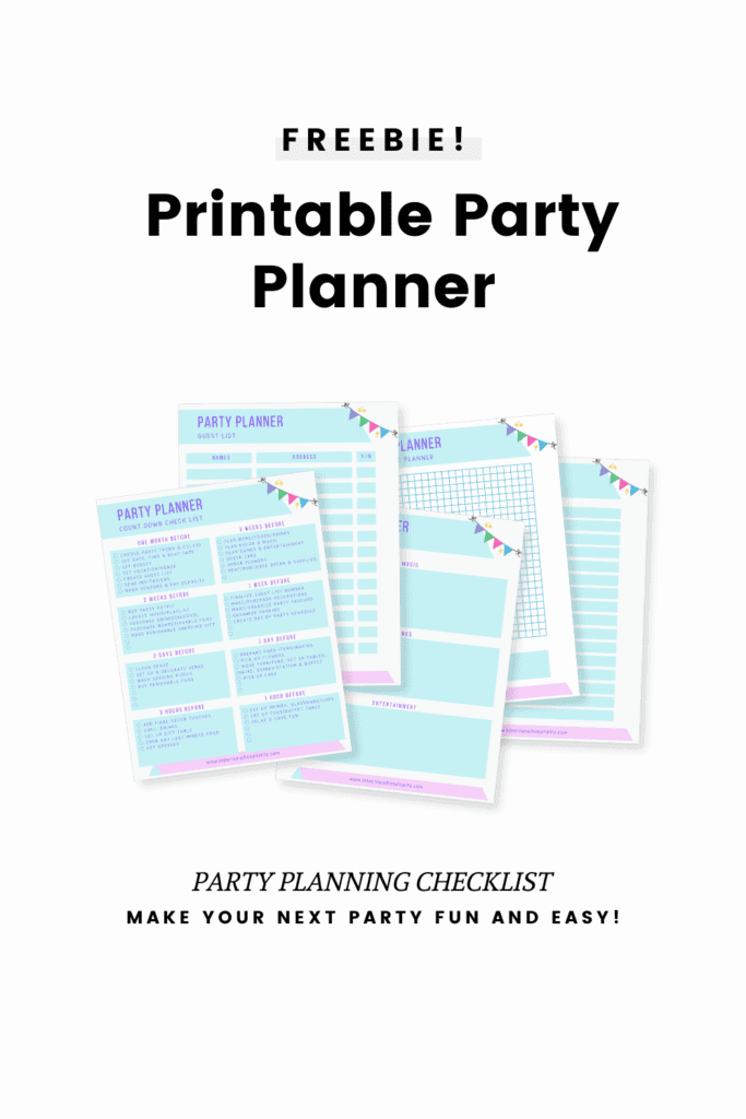 printable party planner with a few sample sheets showing