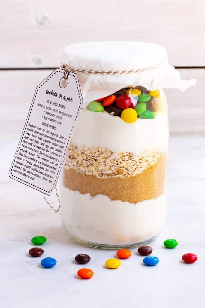 cookie mix gift with m&ms in a jar