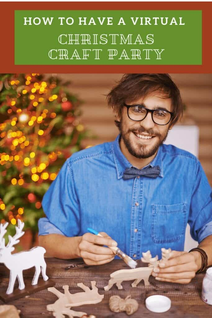 virtual christmas party man painting crafts