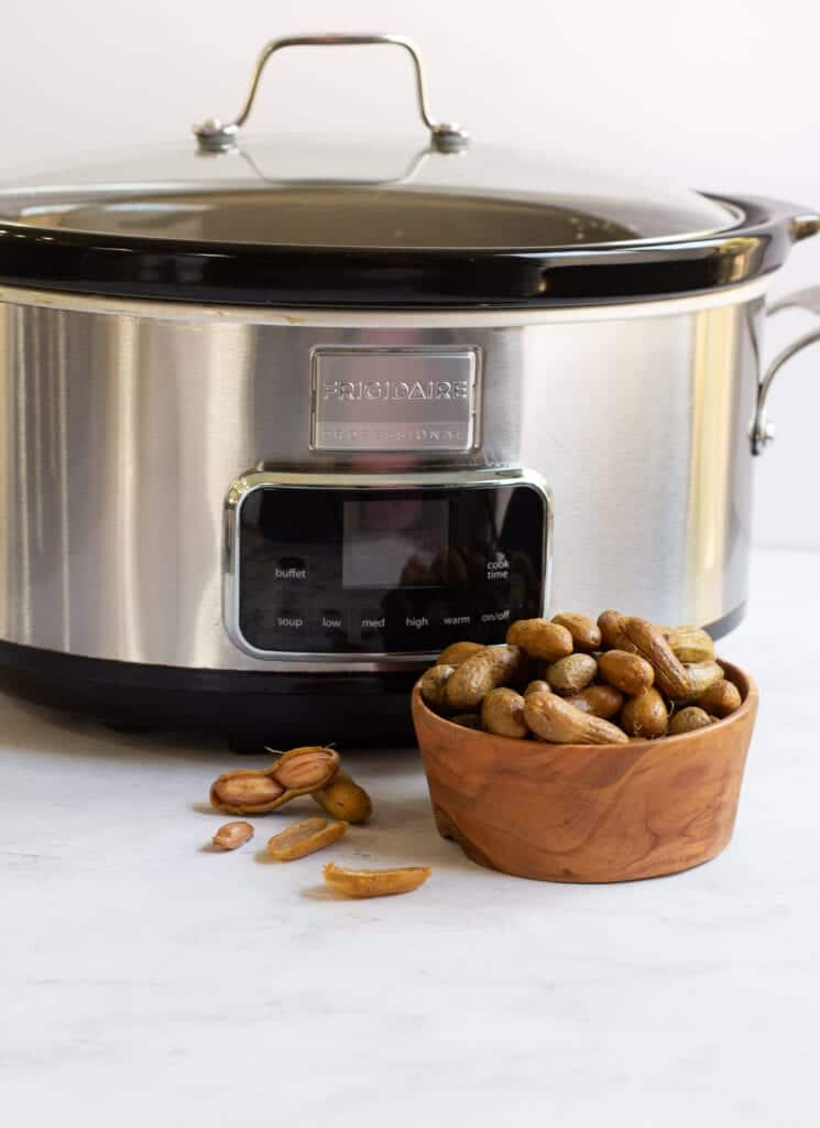 crock pot boiled peanuts in a bowl