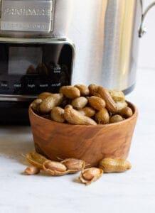 a bowl of crock pot boiled peanuts