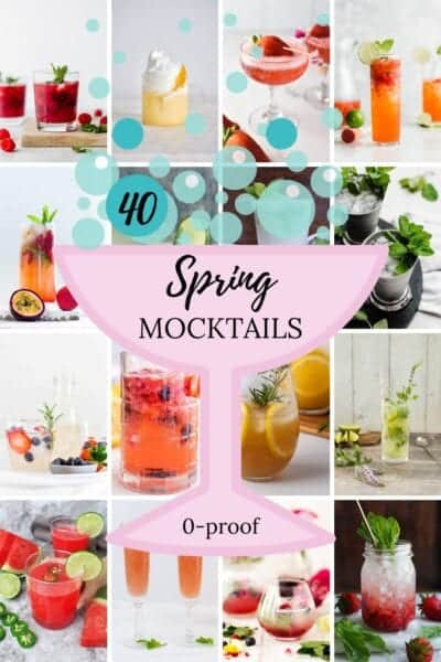 spring mocktails drinks in glasses