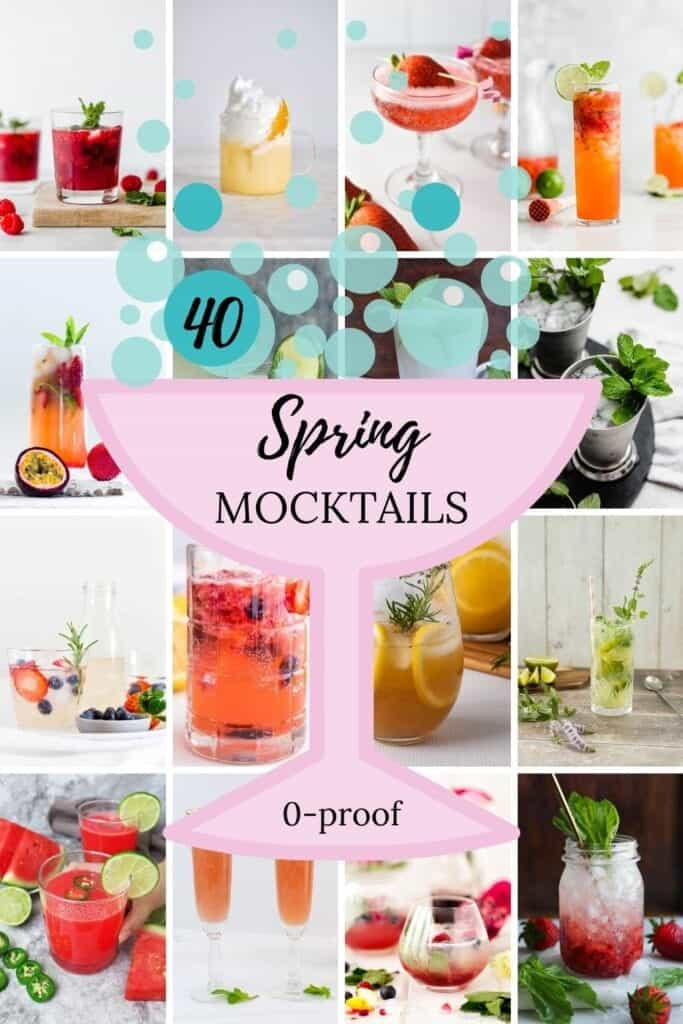 spring mocktails drinks in glasses