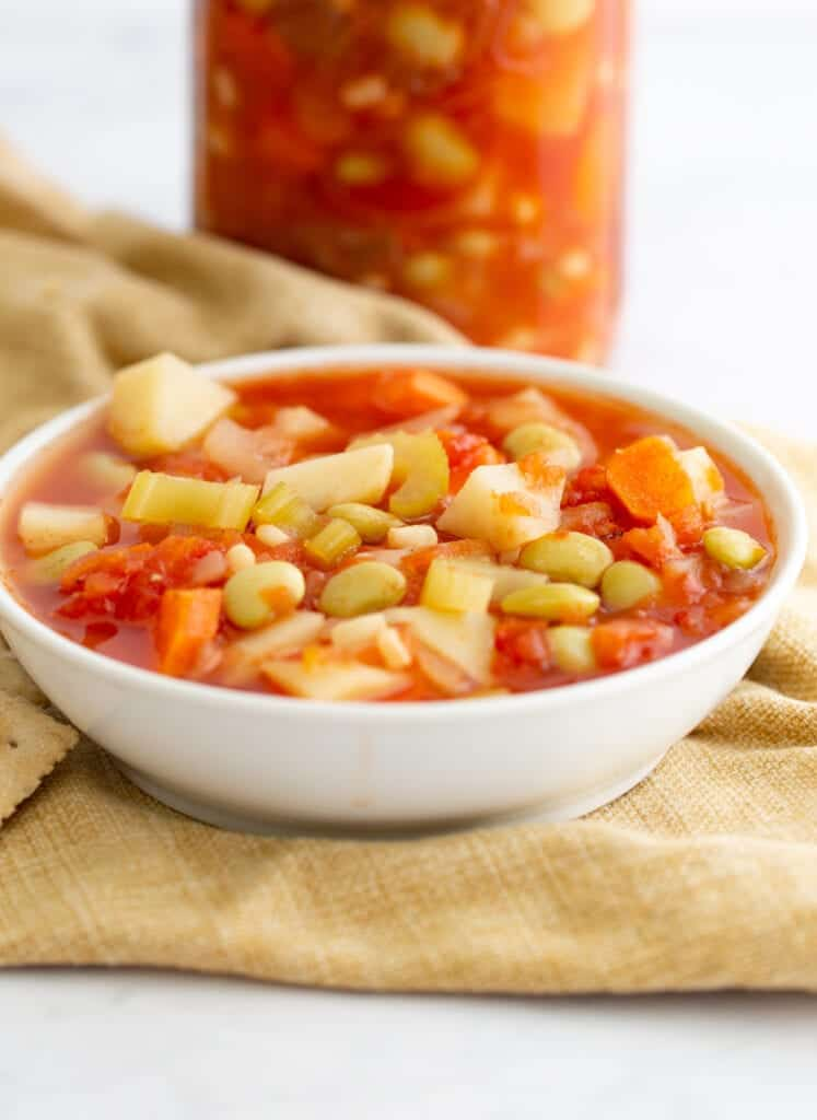 canned vegetable soup in a bowl