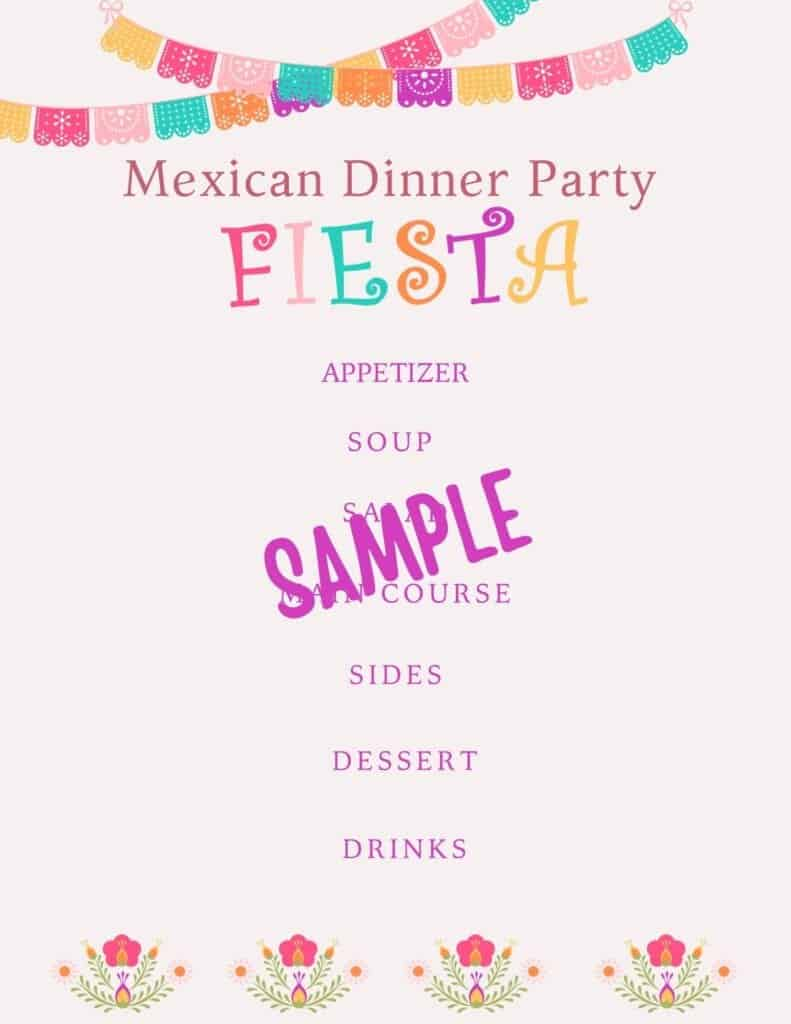 mexican dinner party free printable menu blank
