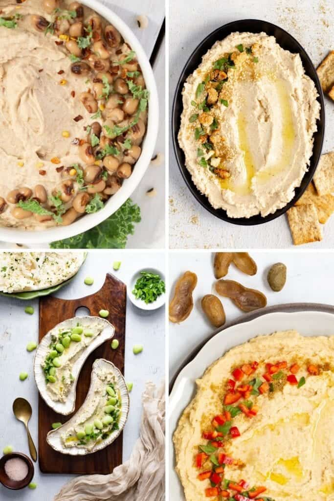 unusual types of hummus, black eyed pea, cauliflower, lima bean, peanut