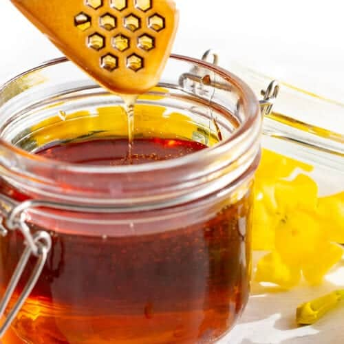 vegan honey recipe in a jar