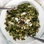 Southern Keto Collard greens recipe on a plate with spoons