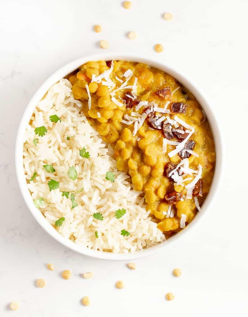 toor dol instant pot in a bowl with rice