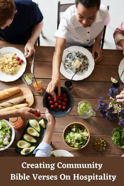 people around a table. Bible Verses On Hospitality