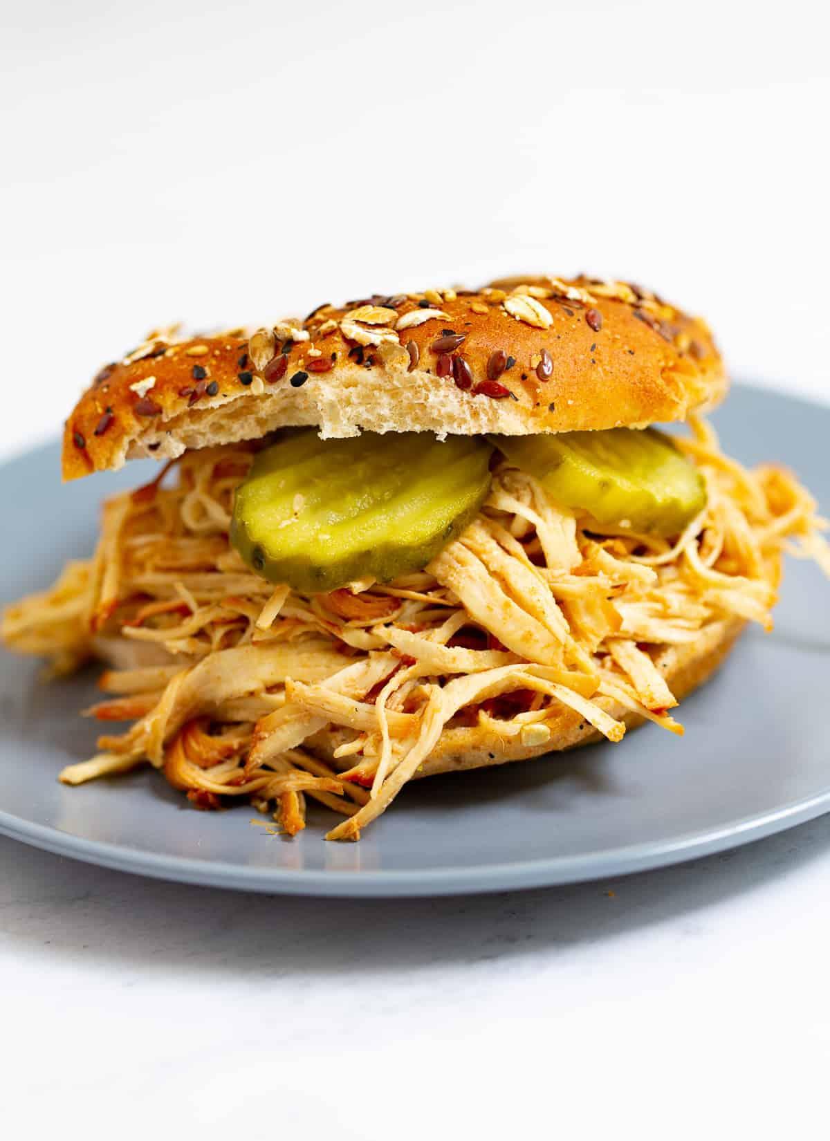 Instant Pot Pulled BBQ Chicken sandwich Recipe
