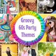 7 Groovy 60s Party Themes with pictures of hippies, tie-dye