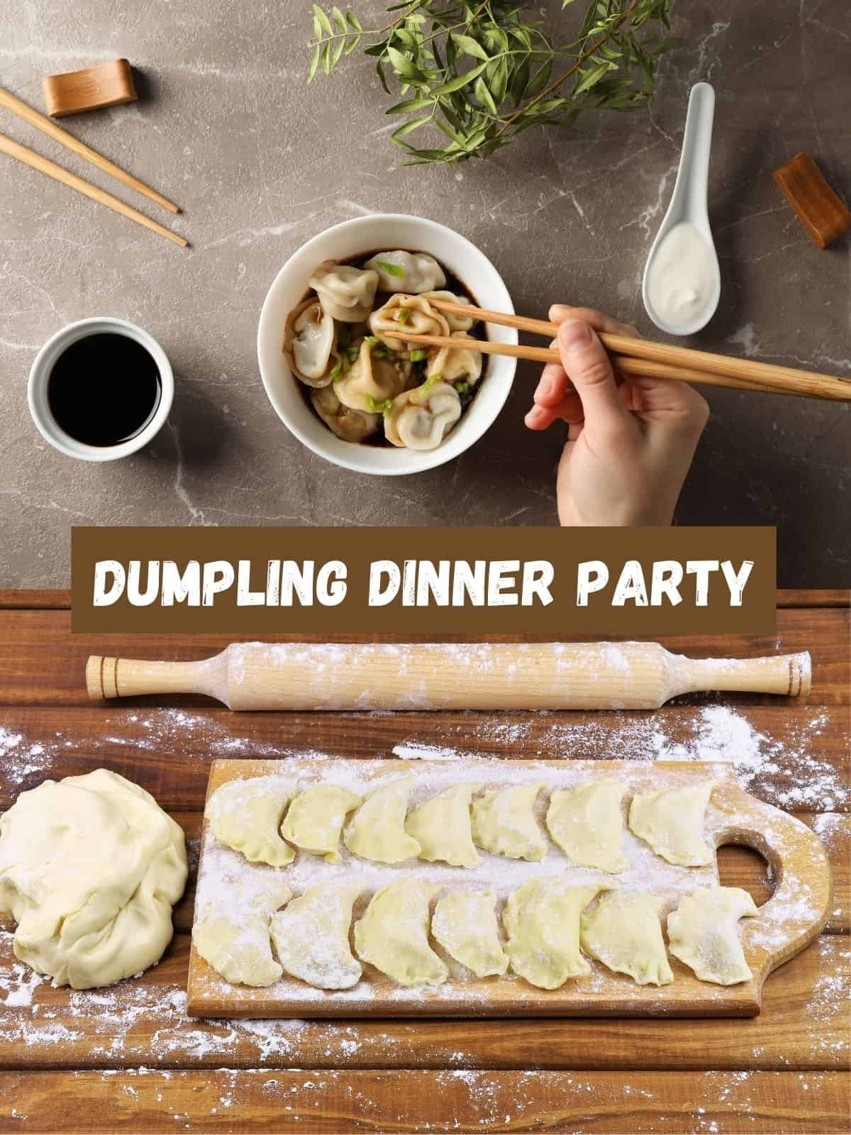 dumpling dinner party with fresh and cooked dumplings
