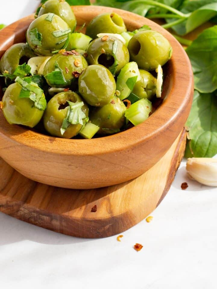Green Marinated Sicilian Olives Recipe in a bowl