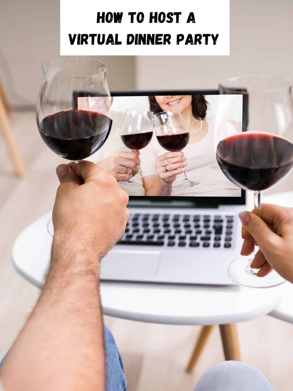 toasting wine on a virtual computer party with friends