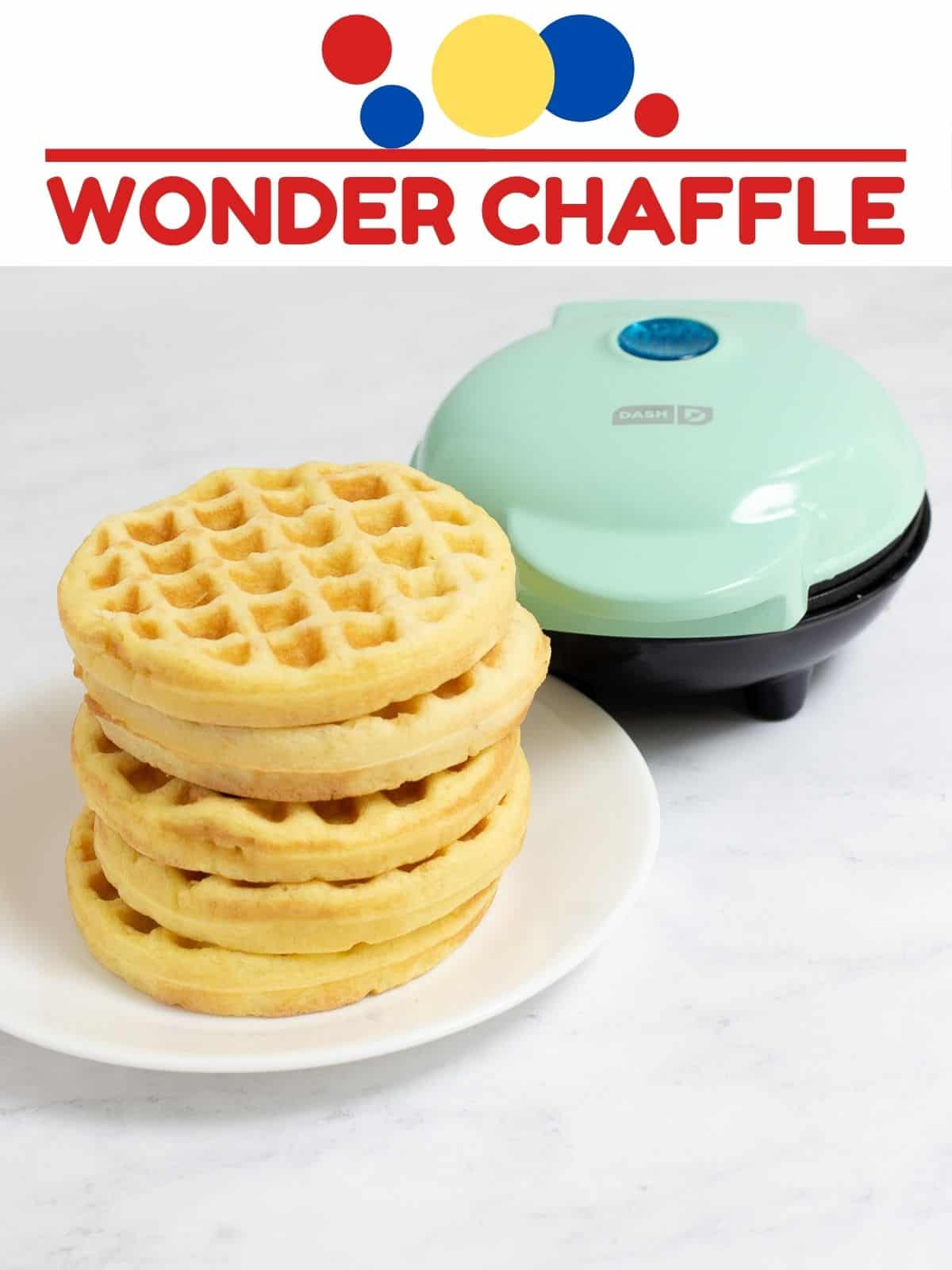 best wonder bread chaffle recipe with stack of chaffles and dash waffle iron