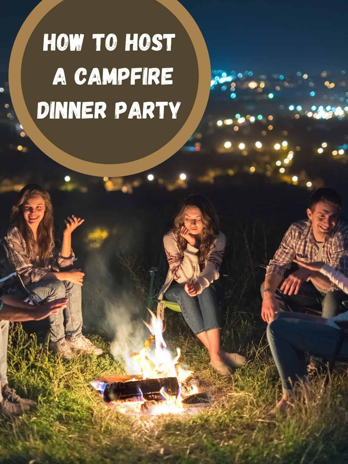 campfire dinner party with people around fire