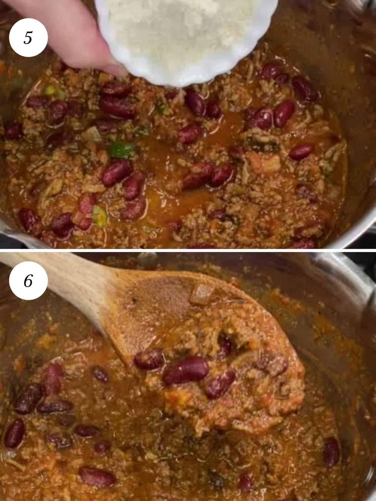 stir in mesa to chili after heating, all to simmer for a few minutes to thicken