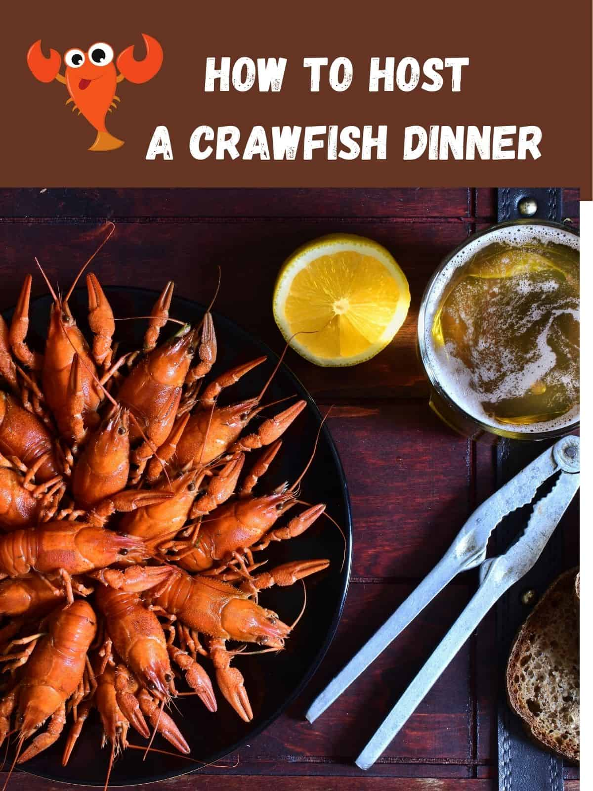 crawfish dinner party with lemon and a beer