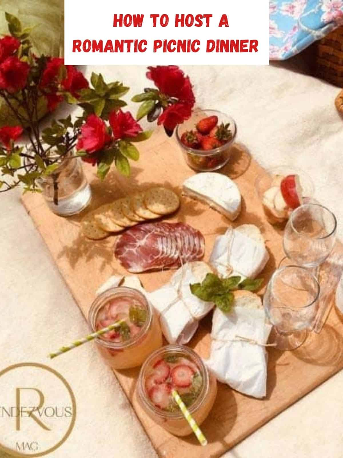 romantic picnic dinner food with roses