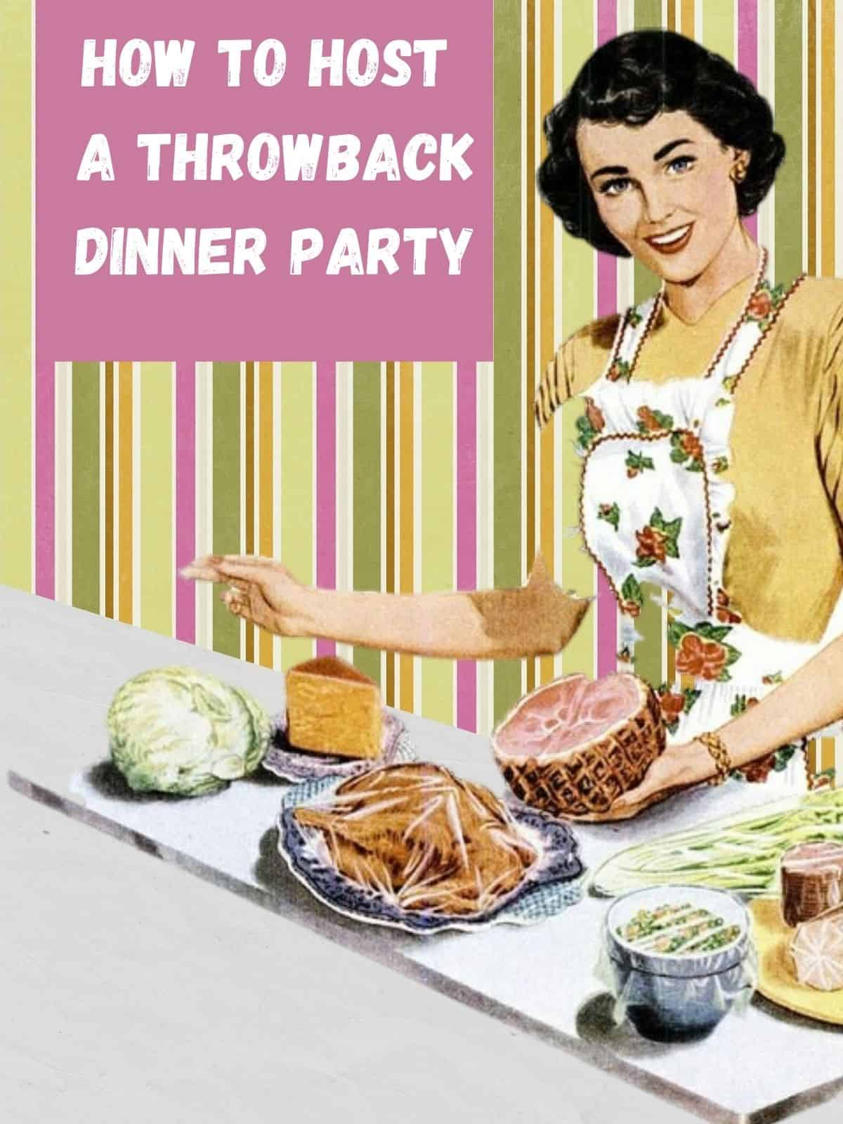 throwback dinner party with retro picture of women with food