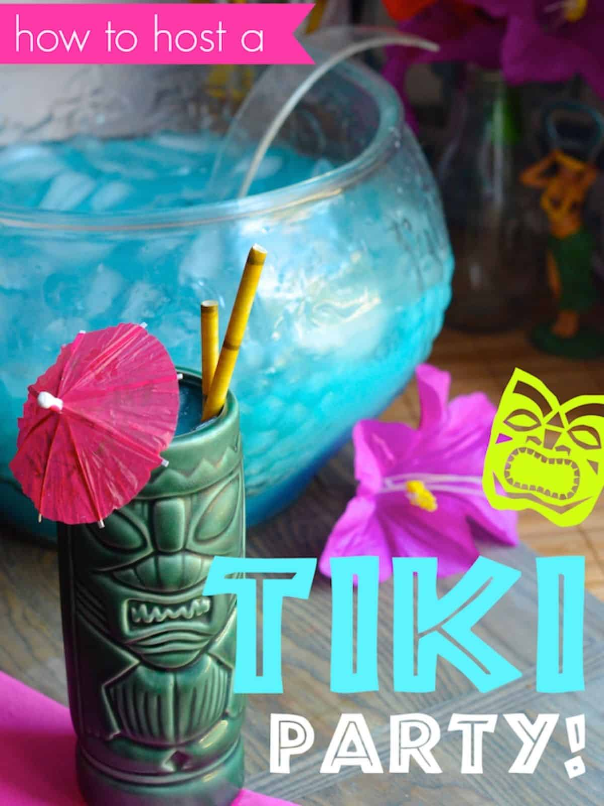 tiki bar party with punch and cup