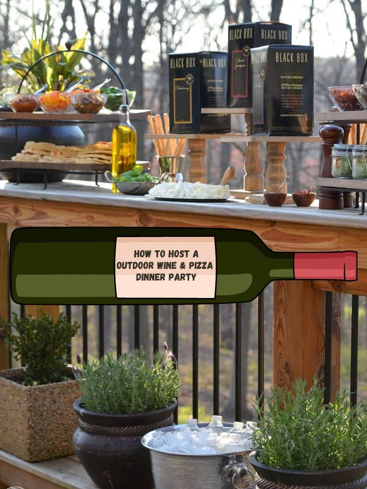 outdoor wine and pizza party table