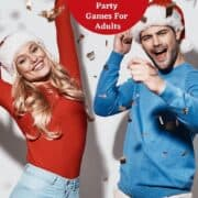 couple dressed in christmas clothes cheering for free printable Christmas games