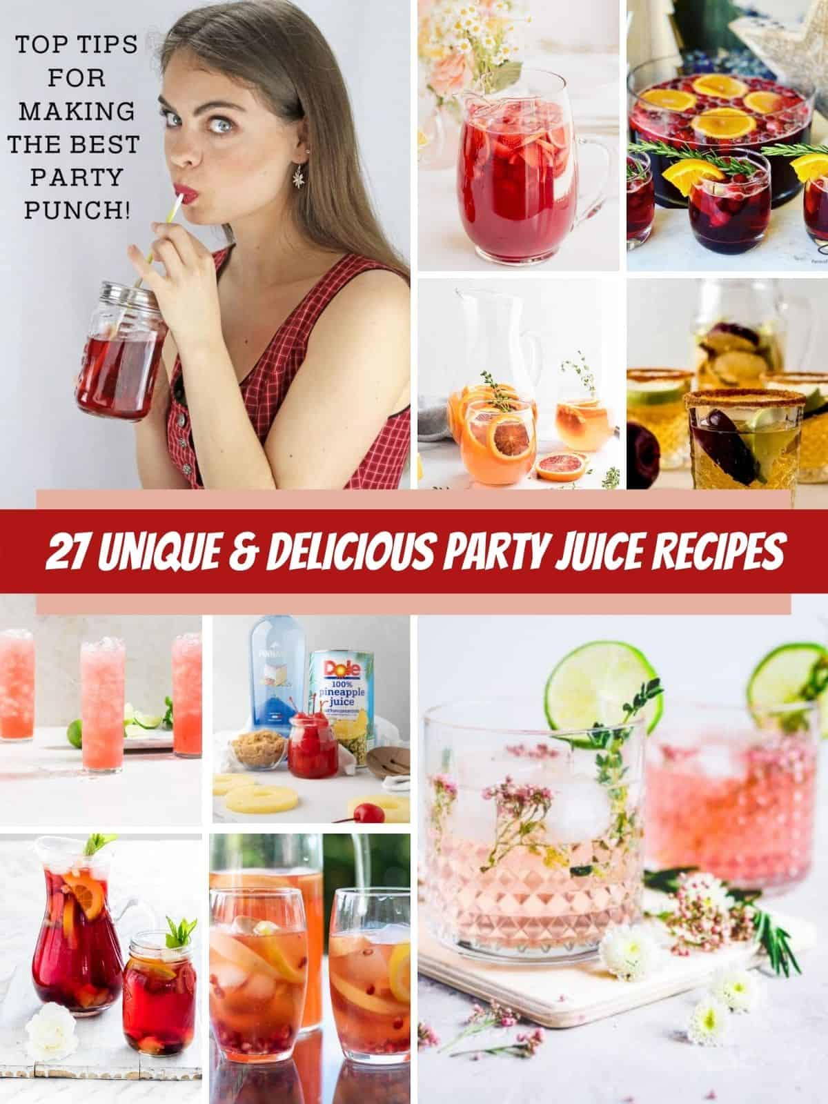party juice recipes pictures and lady sipping punch