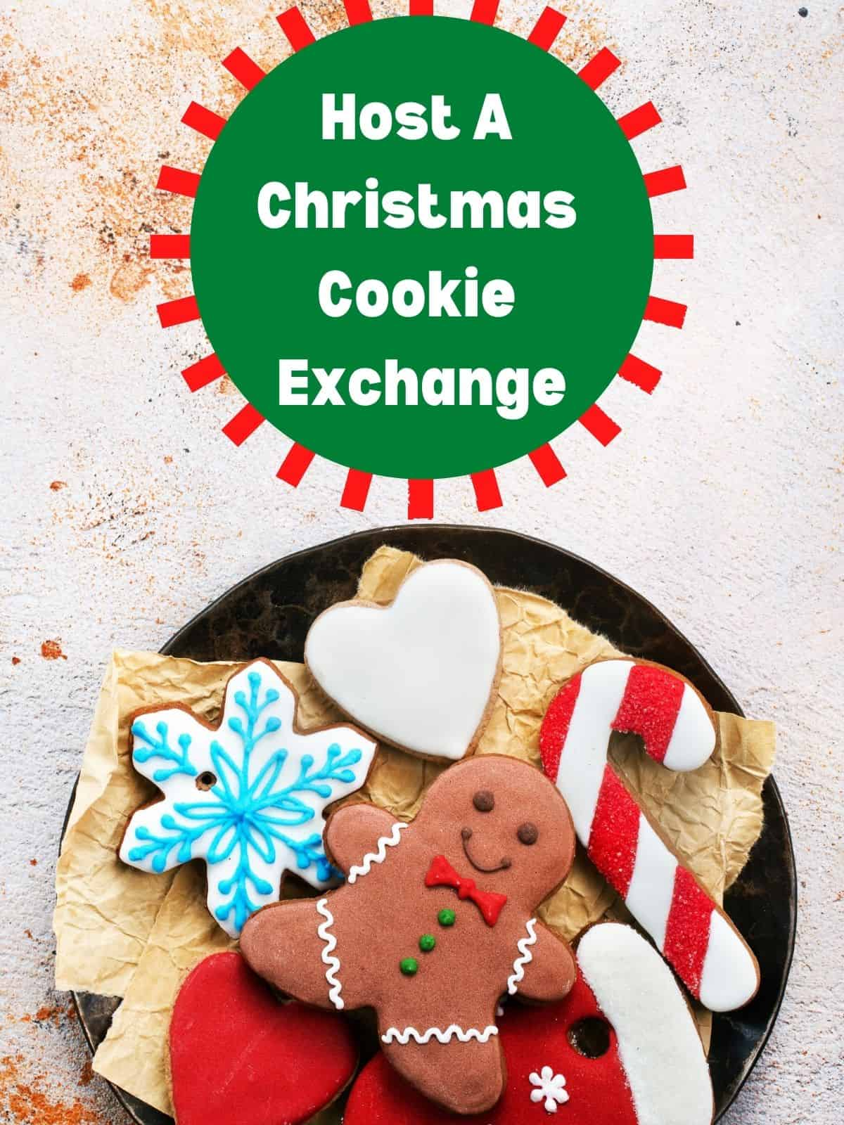 cookies on a plate for.  Christmas Cookie Exchange
