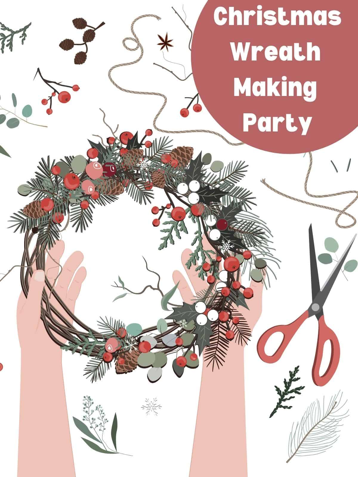 christmas wreath being made with scissors on table
