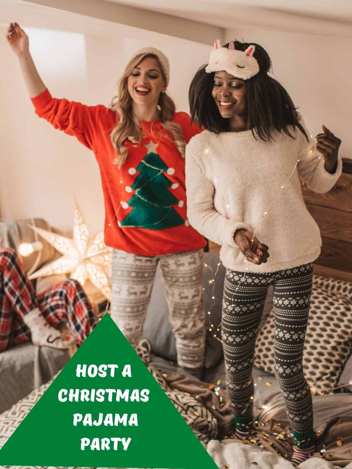 two ladies in christmas pjs for a Christmas pajama party