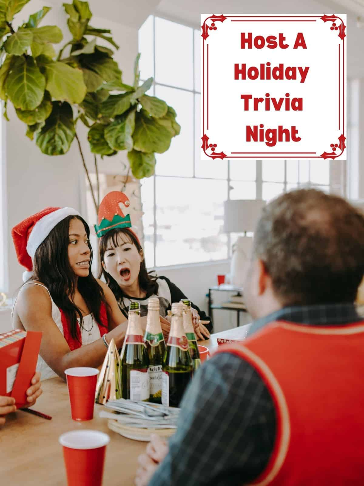 Host A Holiday Trivia Night with friends laughing