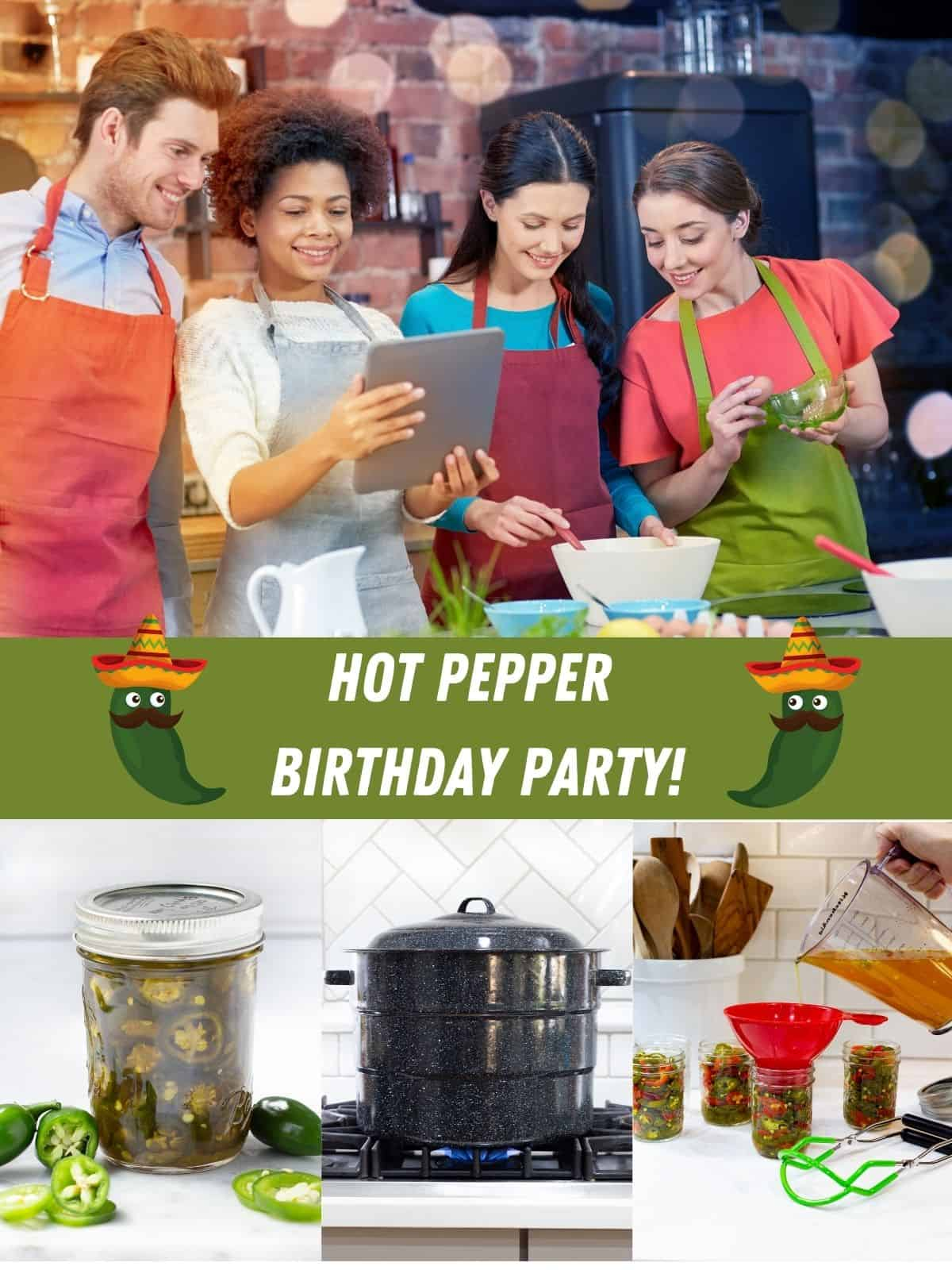 people working in kitchen, jalapeno peppers in jar and canner