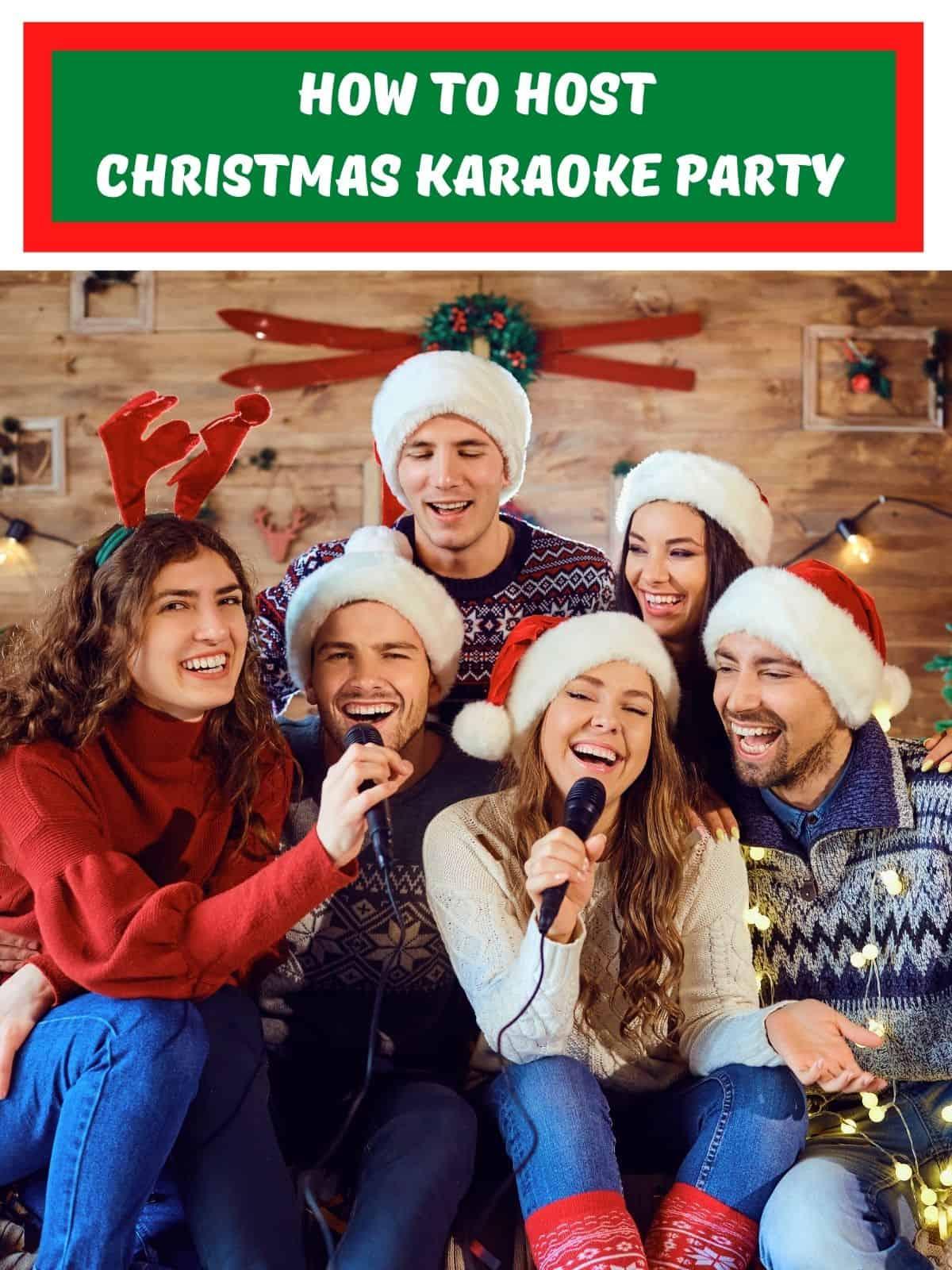 christmas karaoke party people singing