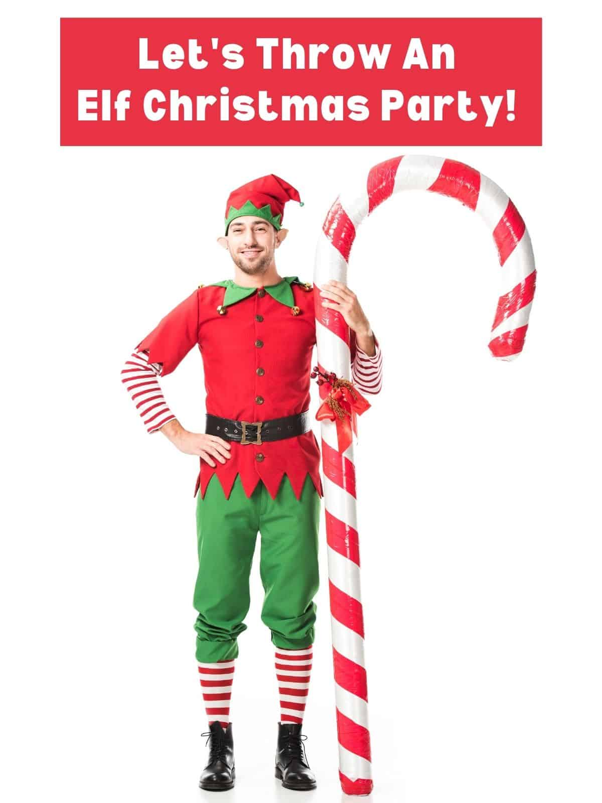 elf holding a candy cane