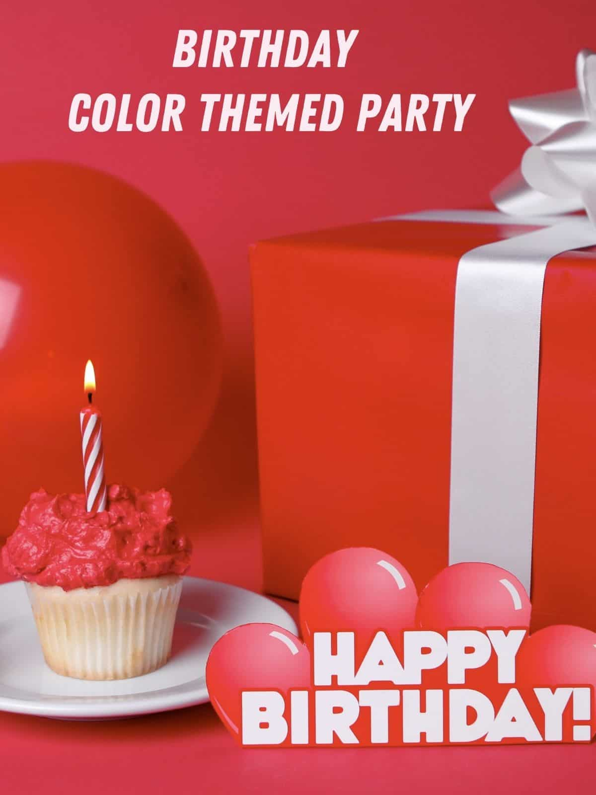 red ballon, package and cupcake for party